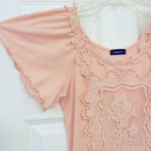 flutter sleeve drop waist lace appliqué knit top